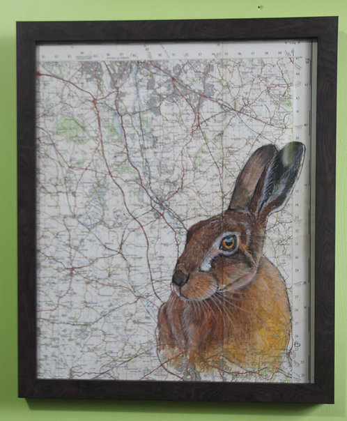 Hare on vintage map featuring Stoke on Trent