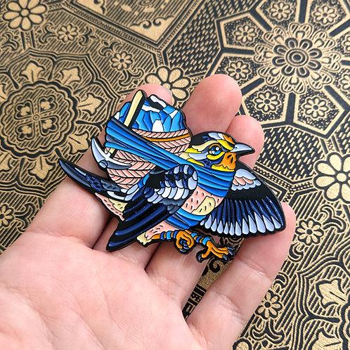 Blue Miner, Warbler - Soft Enamel Pin