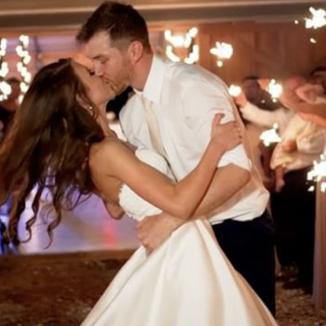 wedding bride and groom sparkler exit