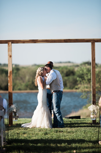 First Kiss Barn Wedding