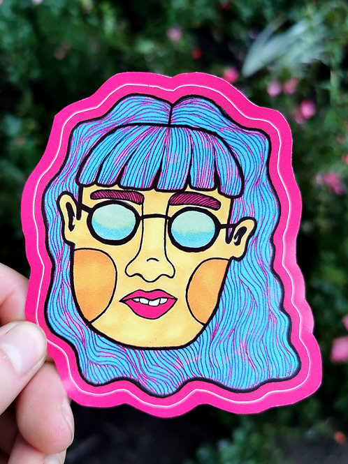 Blue-haired Girl Sticker