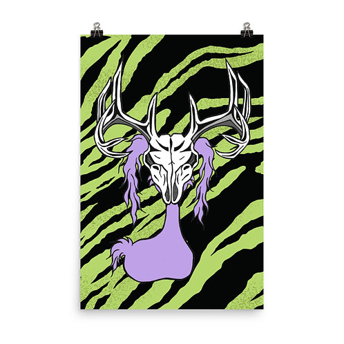 (Green Tiger Stripe) Deer Skull Gloom Character - Premium Luster Paper Poster