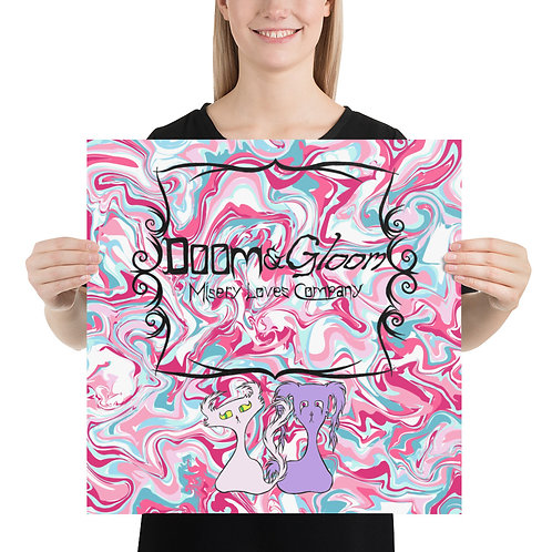 (Pink Marble) Doom & Gloom Characters W/ Logo Premium Luster Paper Poster