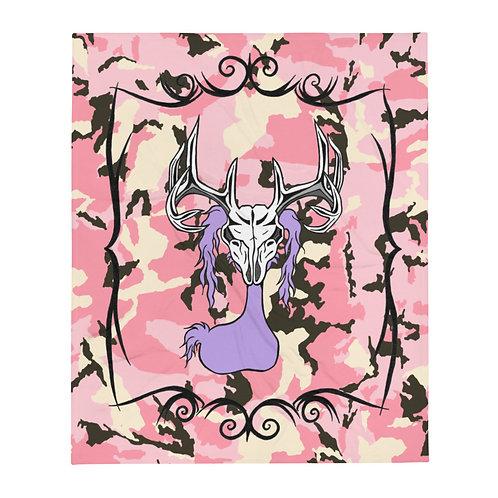 (Pink Camo) Deer Skull Gloom - Throw Blanket