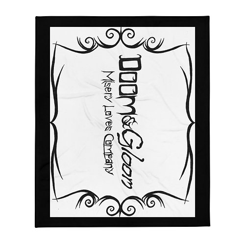 Black Font - Doom & Gloom Misery Loves Company Official Throw Blanket