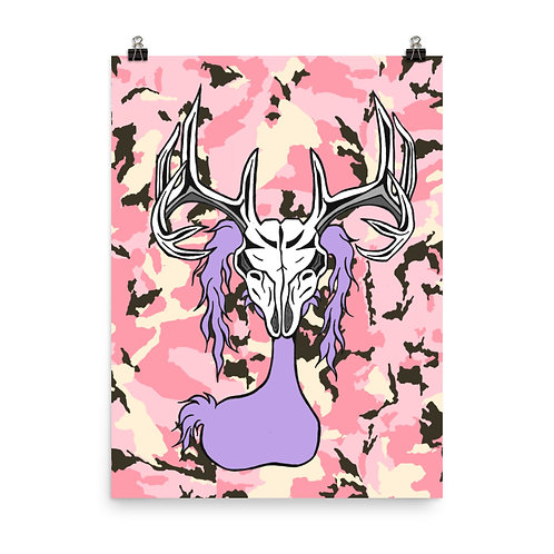 (Pink Camo) Deer Skull Gloom Character - Premium Luster Paper Poster