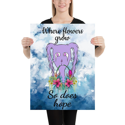 """Where flowers grow"" Gloom Character Premium Luster paper poster"