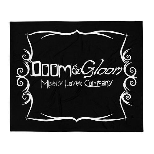 White Font - Doom & Gloom Misery Loves Company Official - Throw Blanket