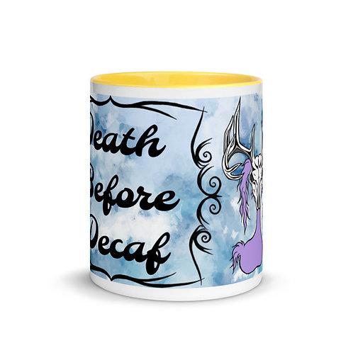 """Death Before Decaf"" Deer Skull Gloom - Ceramic Mug"