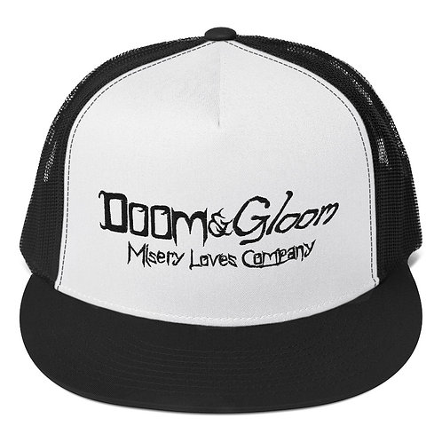 Black Lettering Doom & Gloom Official Logo -  Embroidered Trucker Cap