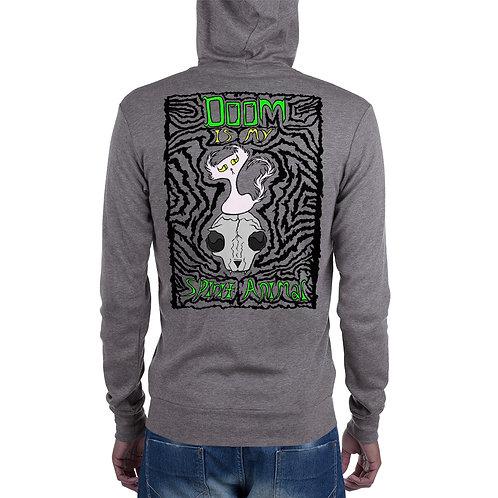 (Black Print) Doom is my Spirit Animal - Zipper Hoodie