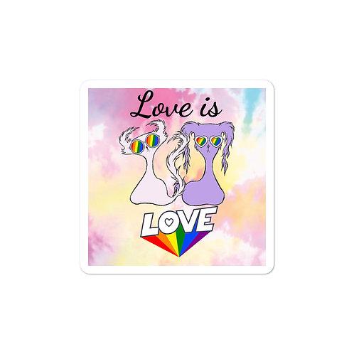 """""""Love is Love"""" Tie-Dye Doom & Gloom """"Bubble-free"""" Sticker"""