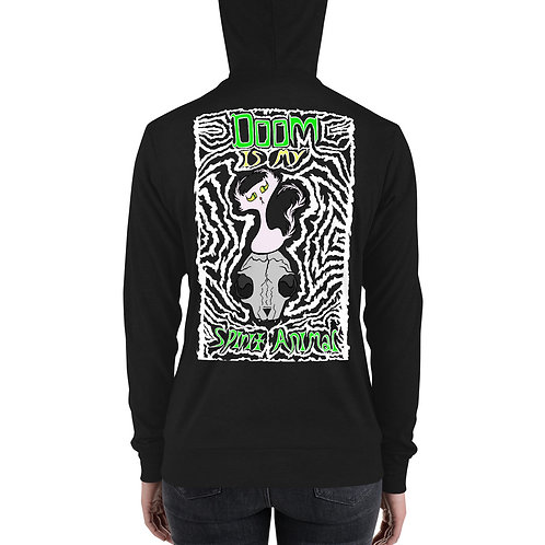 (White Print) Doom is my Spirit Animal - Zipper Hoodie