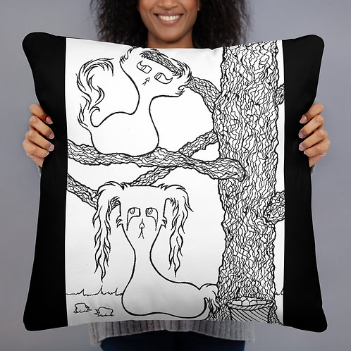 (Black & White) Apple Picking Doom & Gloom Characters - Basic Pillow