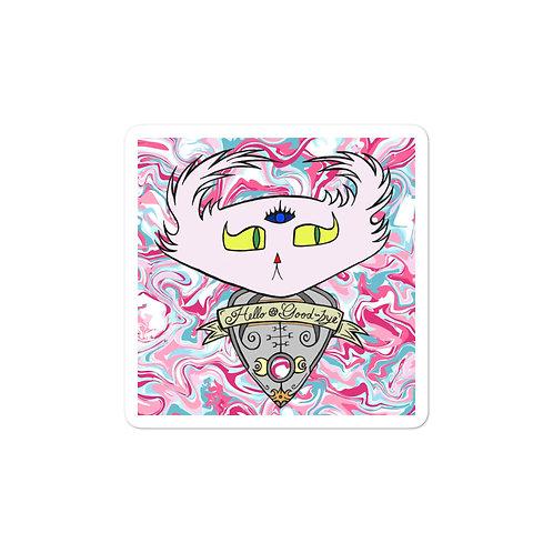 "(Pink Marble) Ouija Planchette Doom ""Bubble-free"" sticker"