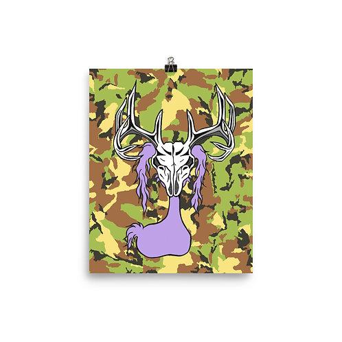 (Green Camo) Deer Skull Gloom Character - Premium Luster Paper Poster