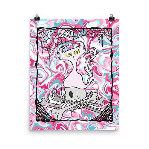 (Pink Marble) Bordered Bone Pile Doom Character - Premium Luster Paper Poster