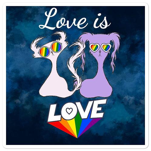 """""""Love is Love"""" Blue Smoke Doom & Gloom """"Bubble-free"""" Sticker"""