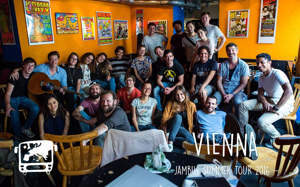 "On tour with the ""kids"" from the JamBus Collective with our friends from the Vienna Songwriting Circle"