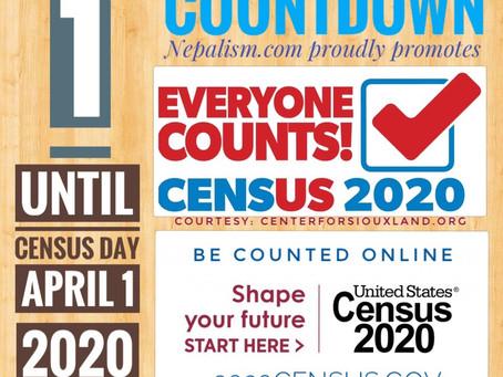Days to go: 1: U.S. Census 2020: अमेरिकी जनगणना २०२० मा नेपाली किन छुट्नु हुँदैन?