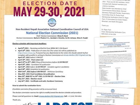 एनआरएन अमेरिकाको निर्वाचन तालिका घोषणा: मे २९-३० मा अनलाईन मतदान। २०,१६३ प्रमाणित सदस्य संख्या