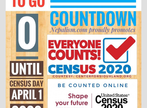 U.S. Census 2020 Countdown: Day to go: Census Day: 0: Extended to August 14: अमेरिकी जनगणना किन ?