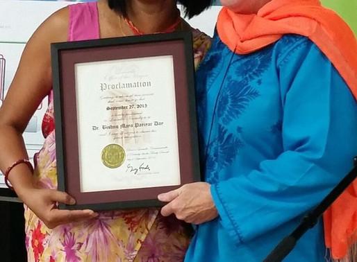 A Day (September 27) is dedicated to Nepali social worker Dr. Bishnu Maya Pariyar by U.S. City