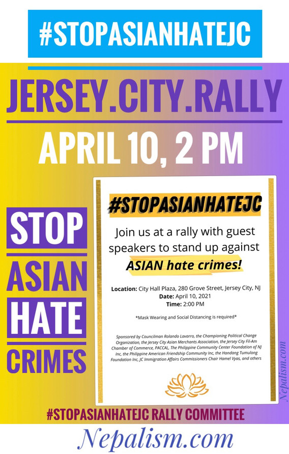 Stop Asian Hate Rally set for Saturday (April 10th) in Jersey City, NJ at 2 pm EST