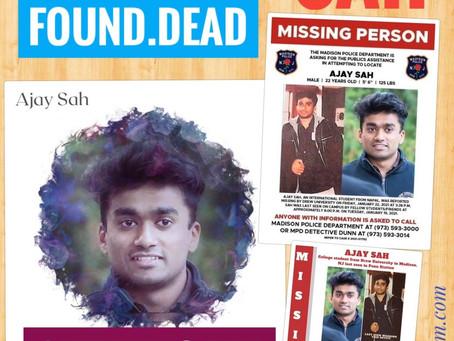 अमेरिकाको न्यू जर्सीमा हराएका नेपाली विद्यार्थी अजय शाह न्यू योर्कको नहरमा मृत फेला परे
