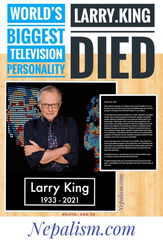 विश्व प्रसिद्ध अमेरिकी टेलिभिजन प्रस्तोता लारी किंगको ८७ वर्षको उमेरमा निधन