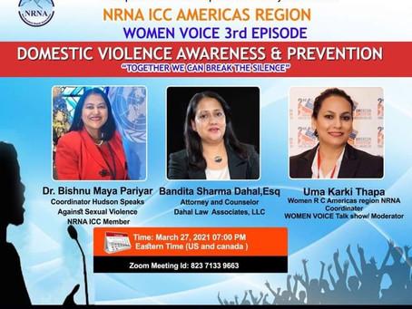 एनआरएनए आईसिसी उत्तर अमेरिकाद्वारा घरेलु हिंसा संचेतना र समाधानबारे भर्चुवल गोष्ठी मार्च २७ मा हुँदै