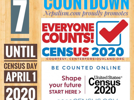 U.S. Census 2020 Countdown: Days to go: 7: अमेरिकी जनगणना २०२० मा नेपाली किन छुट्नु हुँदैन?