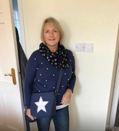 Another happy customer with her AK Sail Bags Handbag