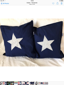 Blue Cushions with white stars made from