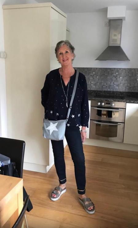 A happy customer with her AK Sail Bags Handbag