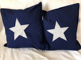 Blue Cushions with white 'upcycled sail'