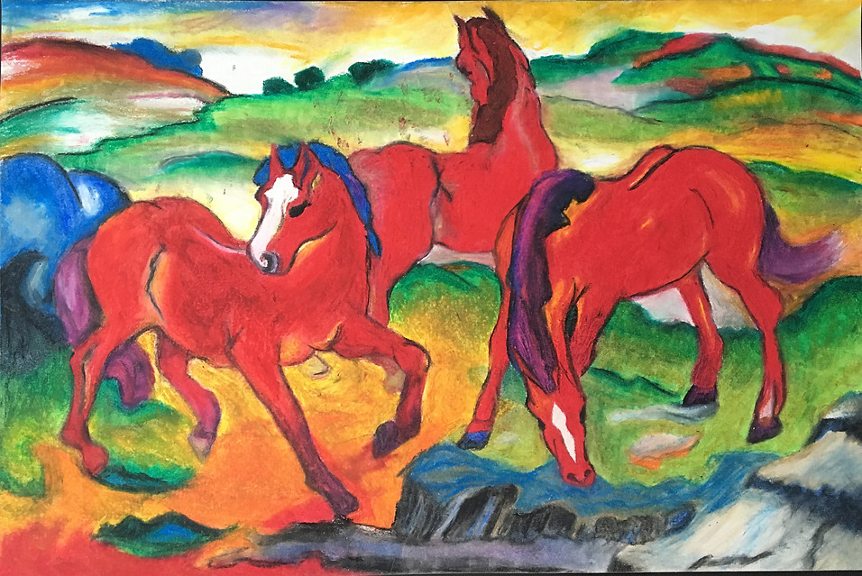 Franz Marc master study in oil pastel