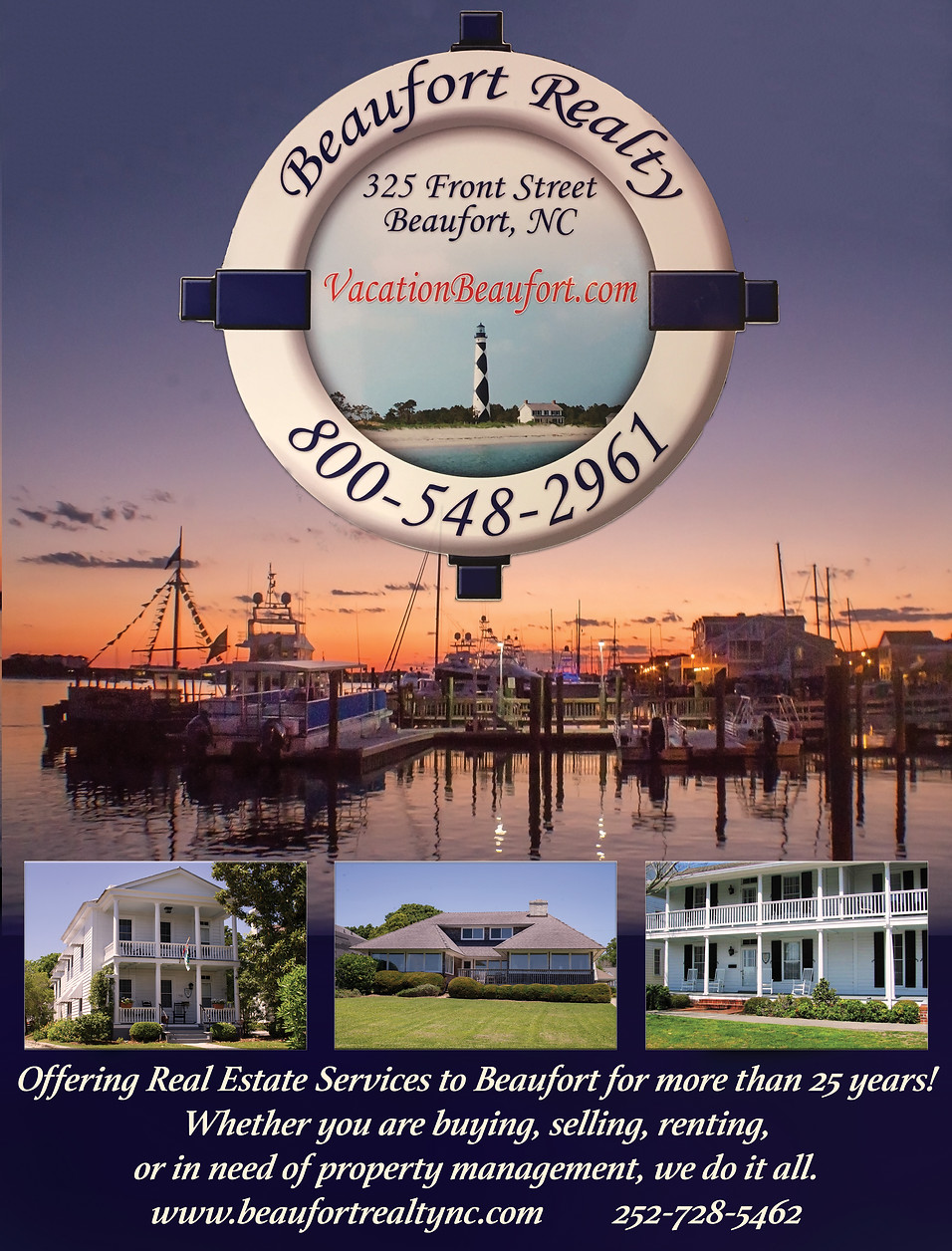 Advertisement & Photography for Beaufort Realty, Beaufort, NC