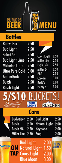J2 Bar & Grill Beer Menu