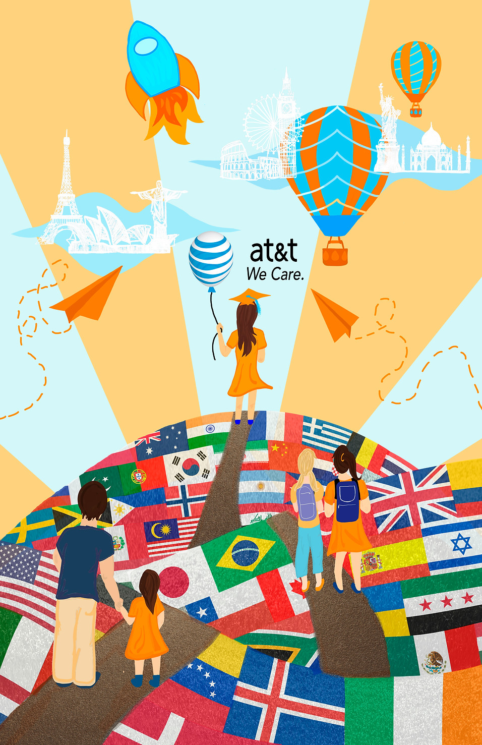 Digital Illustration & Softcell advertisement design for AT&T