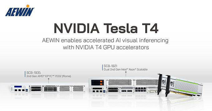 AEWIN enables accelerated AI visual inferencing with NVIDIA T4 GPU accelerators