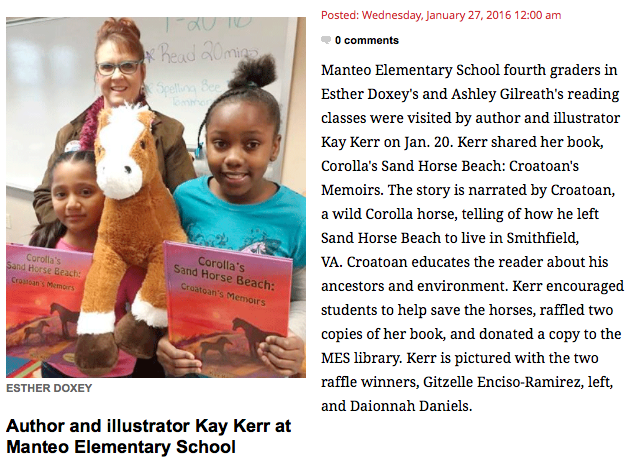 Kay visited Manteo Elementary!