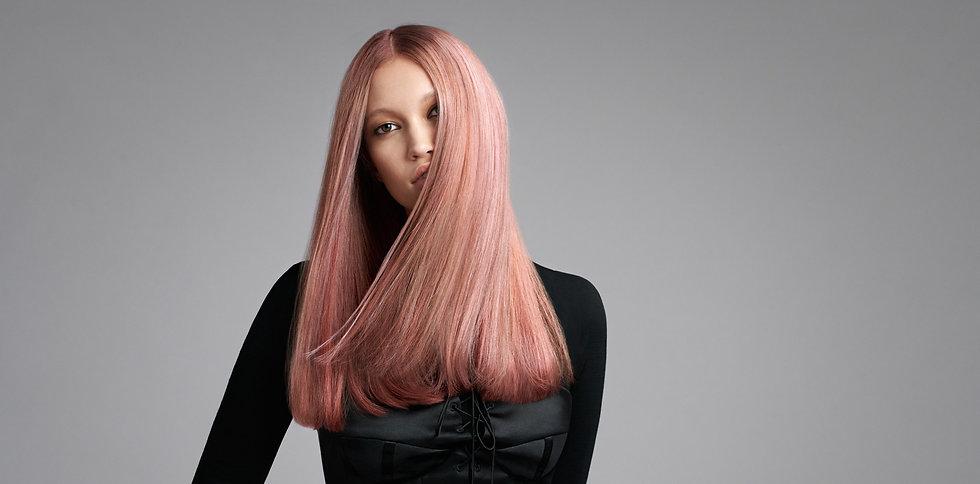 goldwell kerasilk pink hair rose gold long