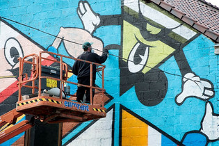 Graffiti muurschildering in opbouw