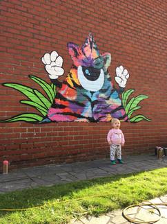 Graffiti muurschildering oprit privé woning.