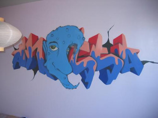 Graffiti muurschildering kinderkamer