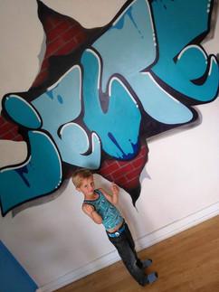 Kinderkamer muurschildering.