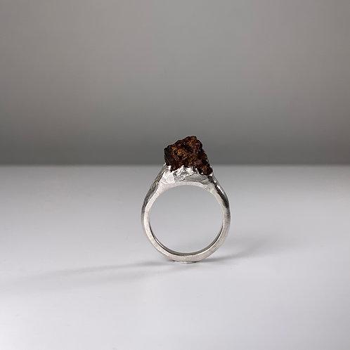サハラ砂漠隕石リング Sahara Desert Meteorite silver ring