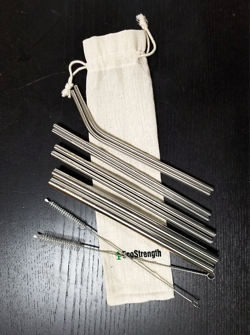 Stainless Steel Straws 8 ct. w/cleaning brushes