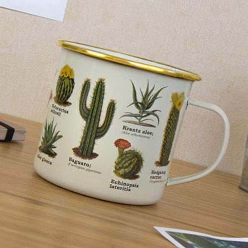 Botanical Succulents Enamel Mug